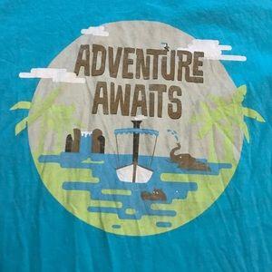 "Disney Tops - Blue ""Adventure Awaits"" Jungle Cruise T-shirt"